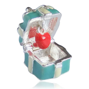 Sterling Silver Enamel Blue Box Charm