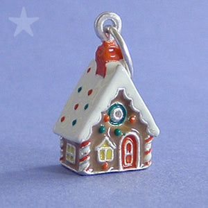 Gingerbread House Charm Sterling Silver Enamel Pendant