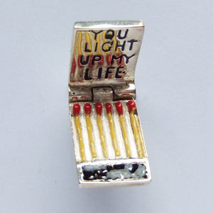 Opening matchbook enamel sterling silver charm | Silver Star Charms