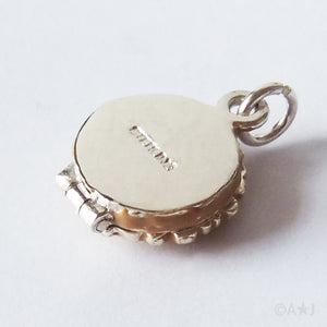 Sterling Silver Enamel Opening Blueberry Pie Charm Pendant
