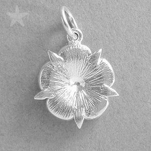 Sterling Silver White Enamel Tudor Rose Flower Charm