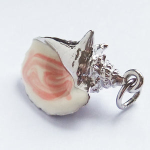 Conch Shell Charm Pendant Sterling Silver Enamel