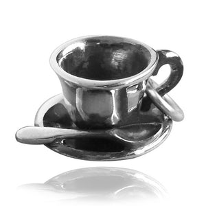 Sterling Silver Cup Saucer and Spoon Charm
