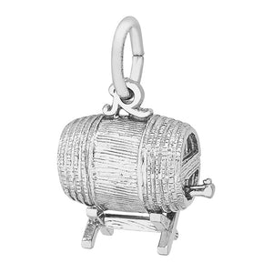 Beer Wine Keg Charm Sterling Silver Barrel Pendant | Silver Star Charms