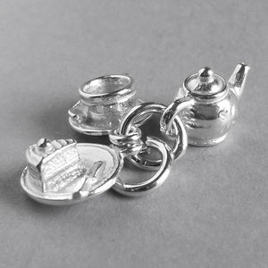 Tea and Cake Charm Pendant with Teapot and Teacup