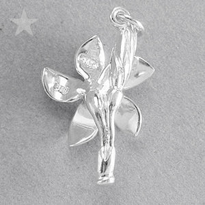 Frangipani Plumeria Flower Charm Pendant in Sterling Silver or Gold