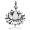Lotus Flower Charm Sterling Silver Yoga Pendant | Silver Star Charms