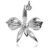 Orchid Flower Charm Pendant in Sterling Silver or Gold