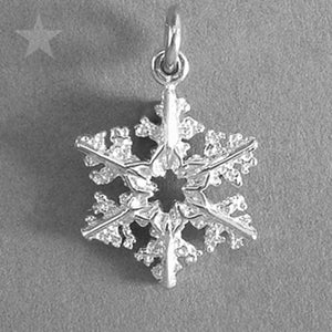 Snowflake Charm Pendant in Sterling Silver or Gold