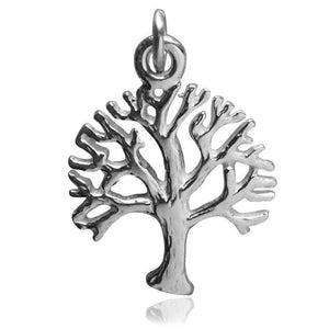 Tree charm sterling silver 925 or gold pendant