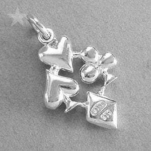 Sterling Silver or Gold Playing Cards Suit Symbol Charm