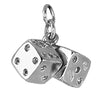Sterling Silver or Gold Pair of Dice Charm Pendant