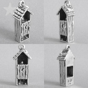 Outhouse toilet lavatory charm sterling silver pendant | Charmarama