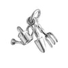 Gardening tools charm sterling silver or gold pendant