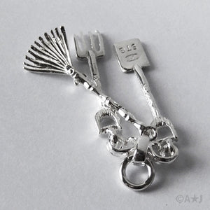 Sterling Silver or Gold Garden Tools Spade Fork Rake Charm Pendant
