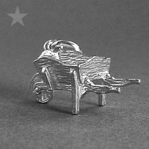 Wheelbarrow Charm in Sterling Silver or Gold