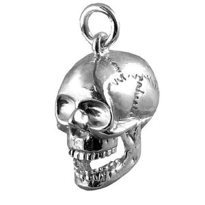 Human Skull Charm Pendant Moving Jaw in Sterling Silver or Gold