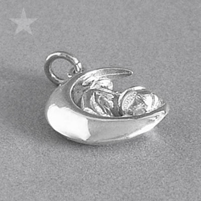 Witch on Moon Charm Pendant in Sterling Silver or Gold