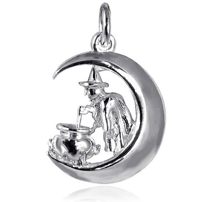 Witch on Moon Charm in Sterling Silver or Gold
