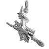 Witch and Cat on Broomstick Charm in Sterling Silver or Gold