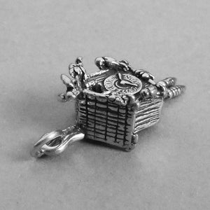 Cuckoo Clock Pendant Sterling Silver