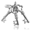 Set of Three Keys Charm in Sterling Silver or Gold