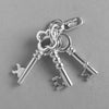 Set of Three Keys Pendant in Sterling Silver or Gold