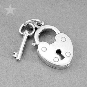 Padlock and Key Charm Pendant in Sterling Silver or Gold