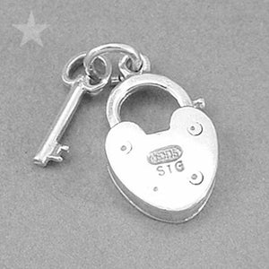 Padlock and Key Charm in Sterling Silver or Gold