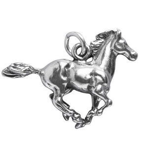 Galloping Wild Mustang Horse Charm Sterling Silver Pendant | Charmarama