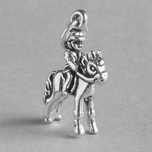 Sterling Silver Child on Horse Charm