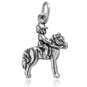 Sterling Silver Child on Pony Charm