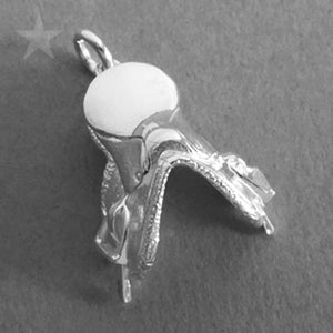 Horse Riding Saddle Pendant in Sterling Silver or Gold