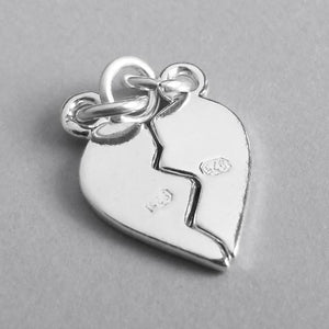 Sterling Silver or Gold Two Piece Broken Heart Charm