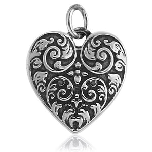 Ornate Heart Charm Pendant in Sterling Silver