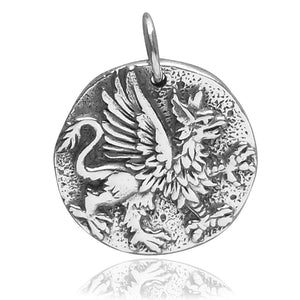 Ancient Coin Charm Sterling Silver Griffin Pendant | Silver Star Charms