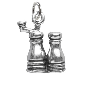Salt and Pepper Charm Sterling Silver Condiment Food Pendant | Charmarama