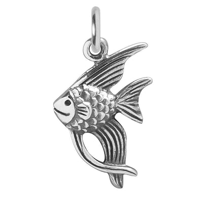 Angelfish charm sterling silver pendant silver star charms angelfish charm sterling silver fish pendant aloadofball Image collections