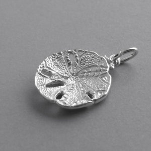 Sand dollar sea shell charm 925 sterling silver or gold pendant