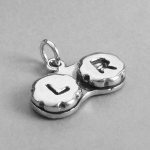 Eye Contact Lense Case Charm Sterling Silver Optometry Pendant | Charmarama