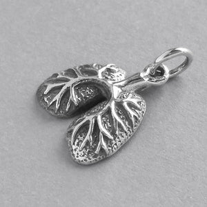 Lungs Charm Sterling Silver Anatomical Pendant | Silver Star Charms