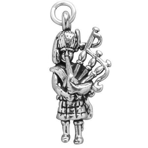 Sterling Silver Scottish Bagpiper Charm | Charmarama