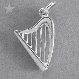 Harp Charm in Sterling Silver or Gold