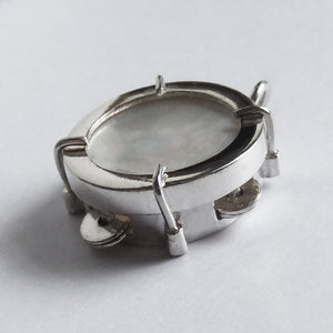 Sterling Silver and Mother of Pearl Jingling Tambourine Charm