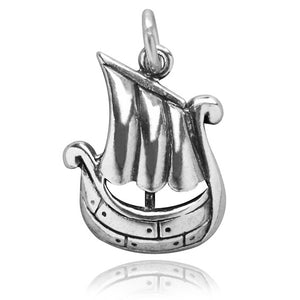 Sterling Silver Viking Ship Charm