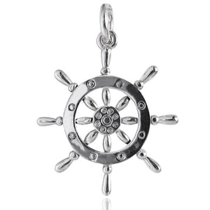 Ships Wheel Helm Charm Pendant in Sterling Silver or Gold