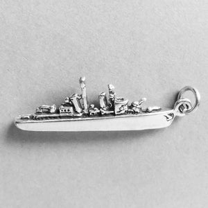 Sterling Silver Battle Ship Charm