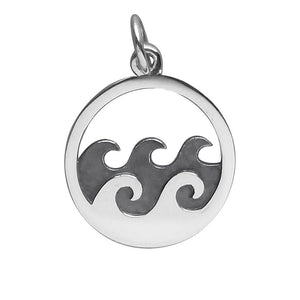 Waves Charm Sterling Silver Ocean Sea Pendant