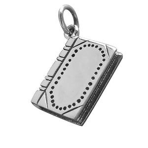 Leather Bound Book Charm Sterling Silver Journal Pendant | Silver Star Charms