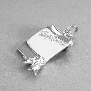 Diploma Scroll Charm Pendant in Sterling Silver or Gold | Silver Star Charms